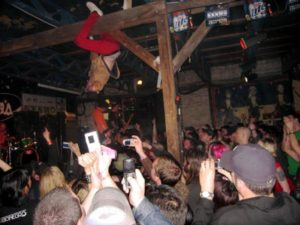 Riverboat Gamblers have a wild stage presence, as seen here in a photo of a recent show in Austin. Photo from MySpace