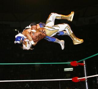 High-flying antics are in store when Lucha Libre Mexicana comes to the UMS! (Photo: giantbomb.com)